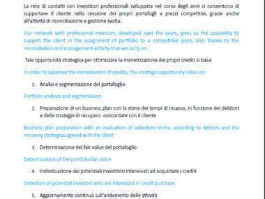 Translation IT-EN of a credit insurance website
