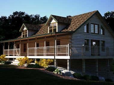 Log Home Rendering