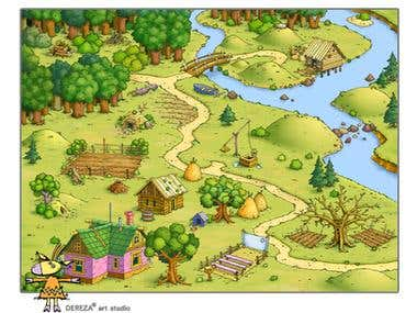 Dereza - concept of map with buildings for isometric game