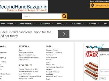 Website Design and SEO for secondhandbazaar.in