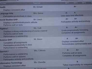 Report Card 1