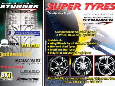 Advert for tyre shop