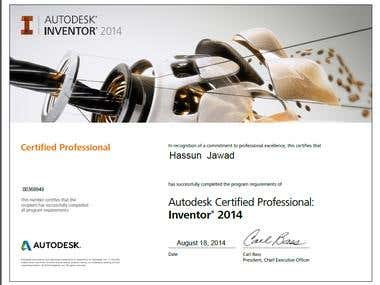 Autodesk Inventor Certified professional