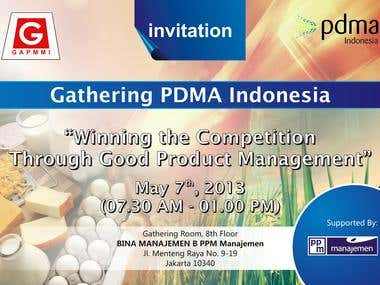 Invitation card for PDMA Indonesia Gathering event