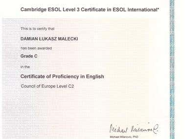 Cambridge ESOL CPE Certificate