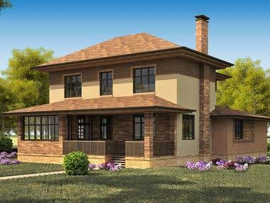Exterior visualisation of Moscow cottage