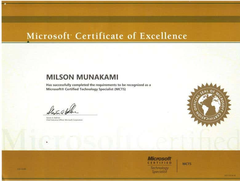 Microsoft Technology Specialist Mcts Freelancer
