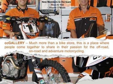 Advert for a off road bike company