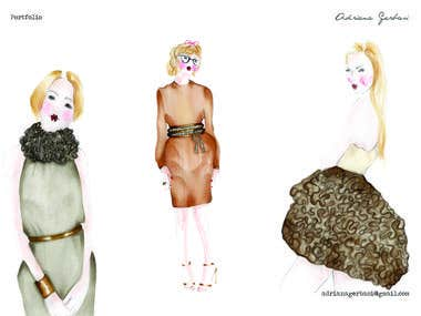 Fashion illustrations for the book FOLDS IN FASHION