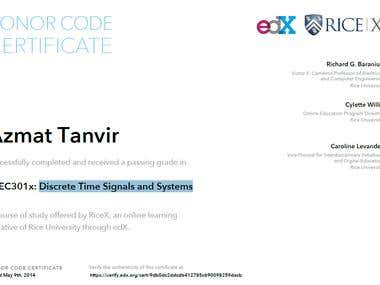 Certificate for Signals and Systems
