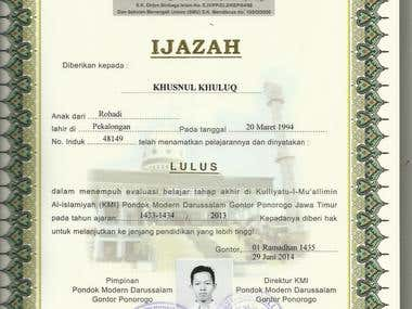 Indonesian Certificate of Graduation of High School