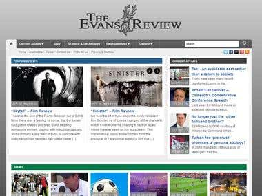 Evansreview Website Design. Work & Writing