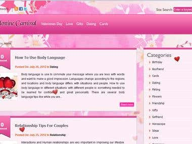 Website of Valentine carnival