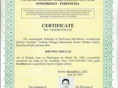 English High School Graduate Certificate