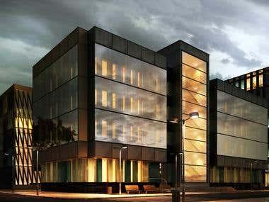 Office building in the city - dusk scene