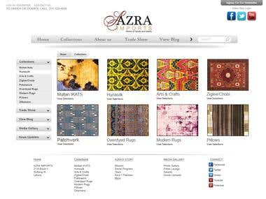 Gallery layout for Azra Imports (Option no.1)
