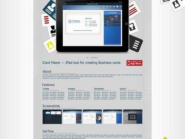 Promo site for app icard maker