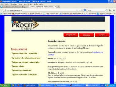 Web site in HTML for a standardized printing