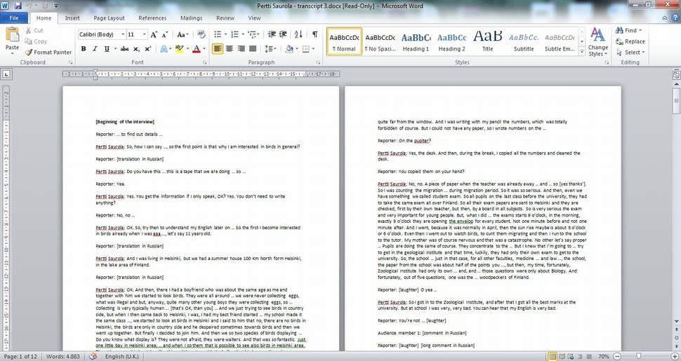 Transcript, English