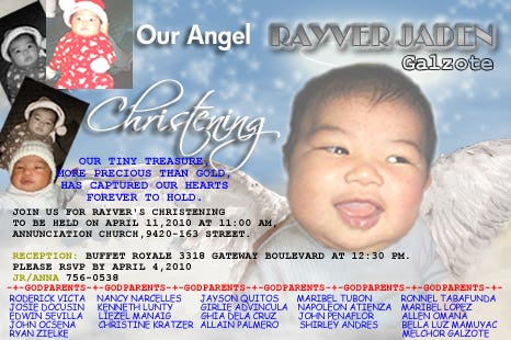 Christening Sample Invitation