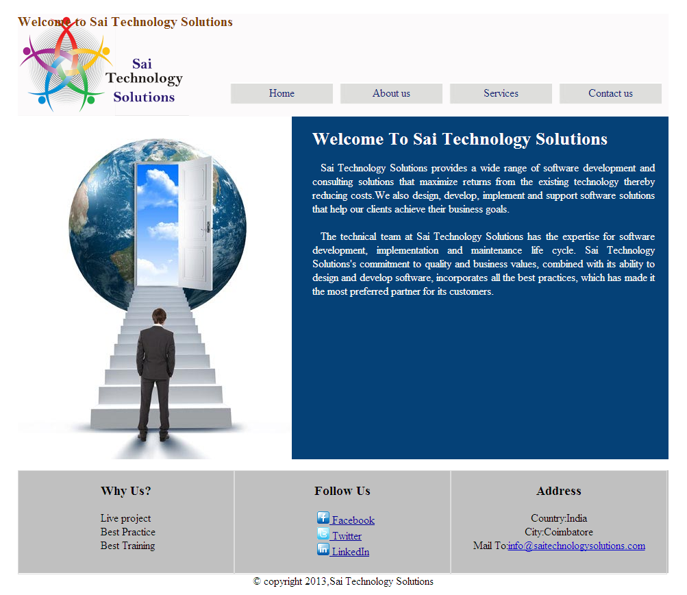 Screen shot of designed Website