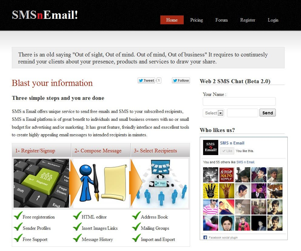 Social Media website development for Bulk Emailing & SMS