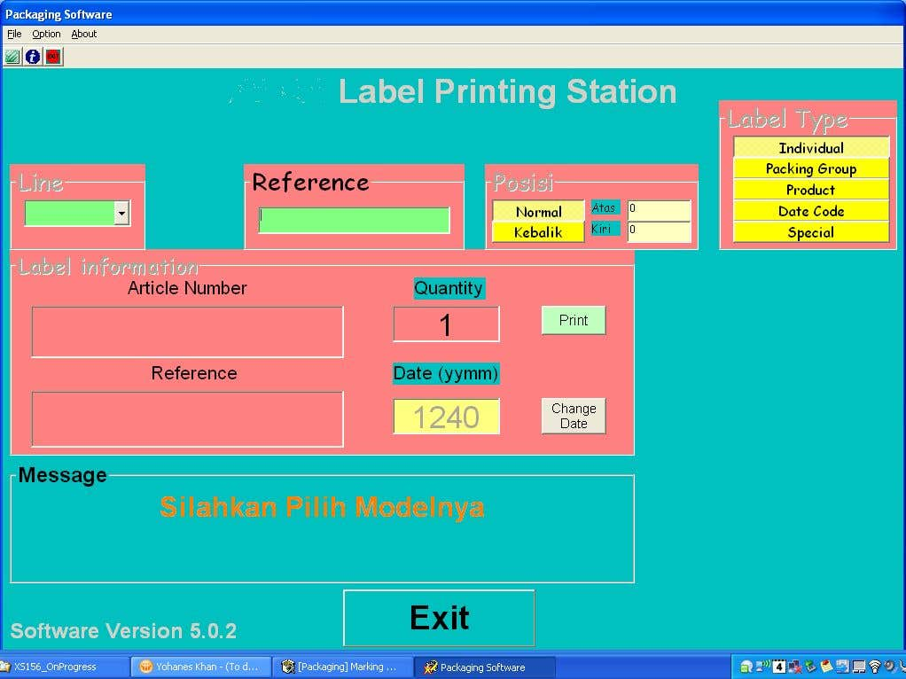Label Printing Program Interface