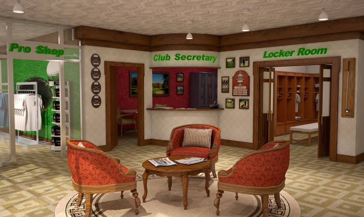 Golf clubhouse interior for AG learning module