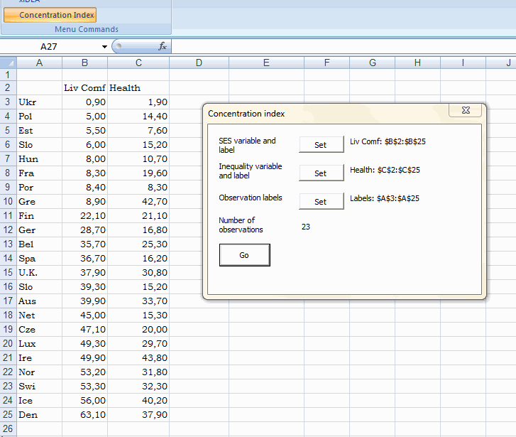 Example of Excel add-in