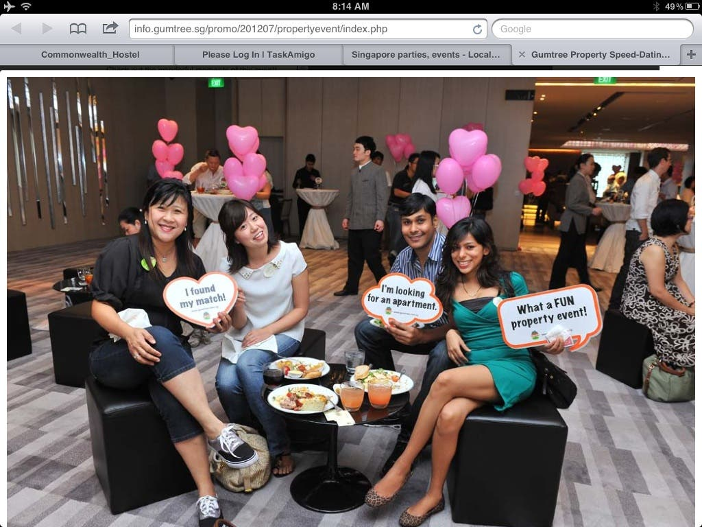 Singapore first on line property dating services ! Sept 2012