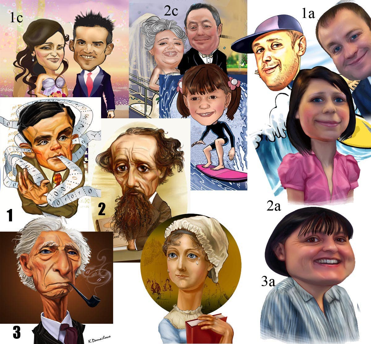 collage of caricatures