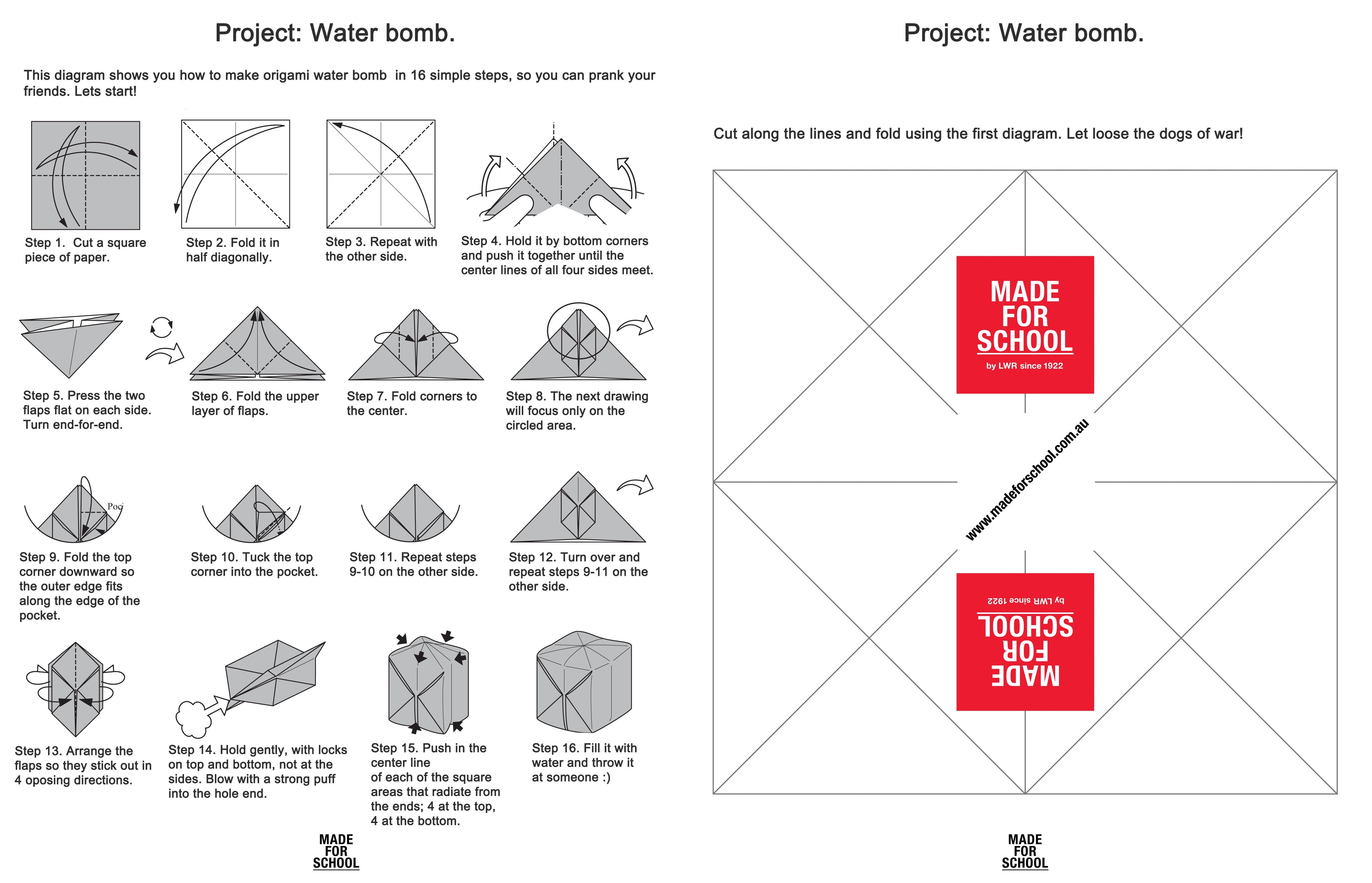 Water bomb package design and instructables.