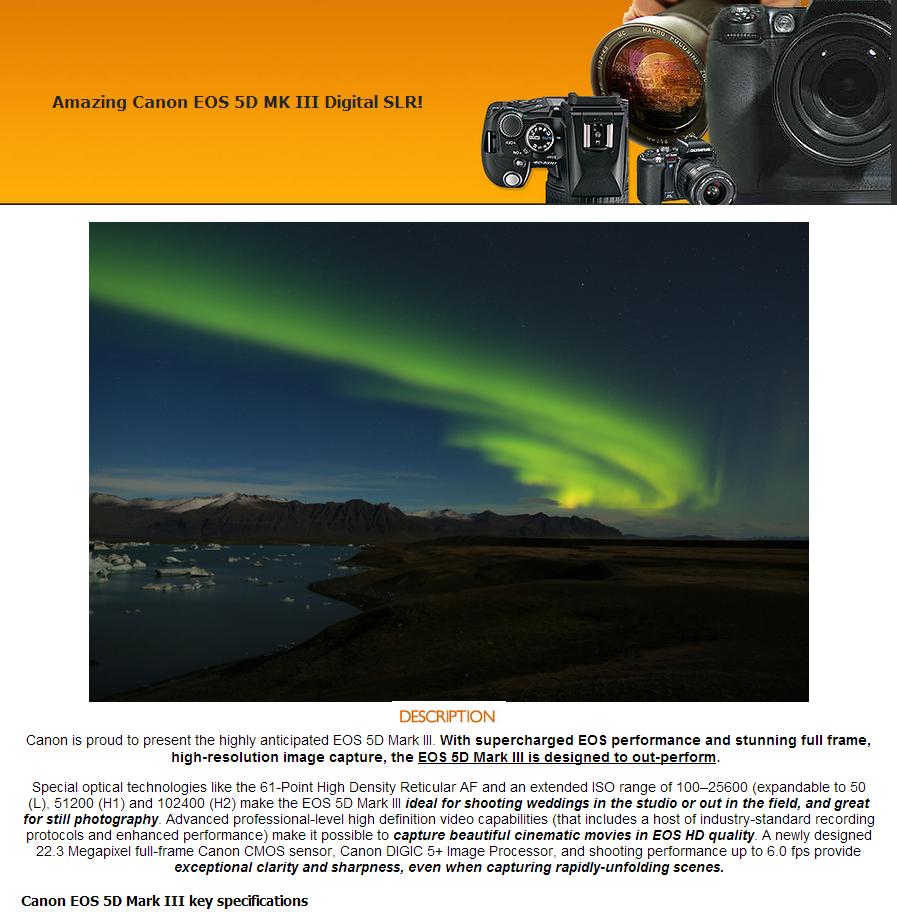 Canon camera eBay Listing