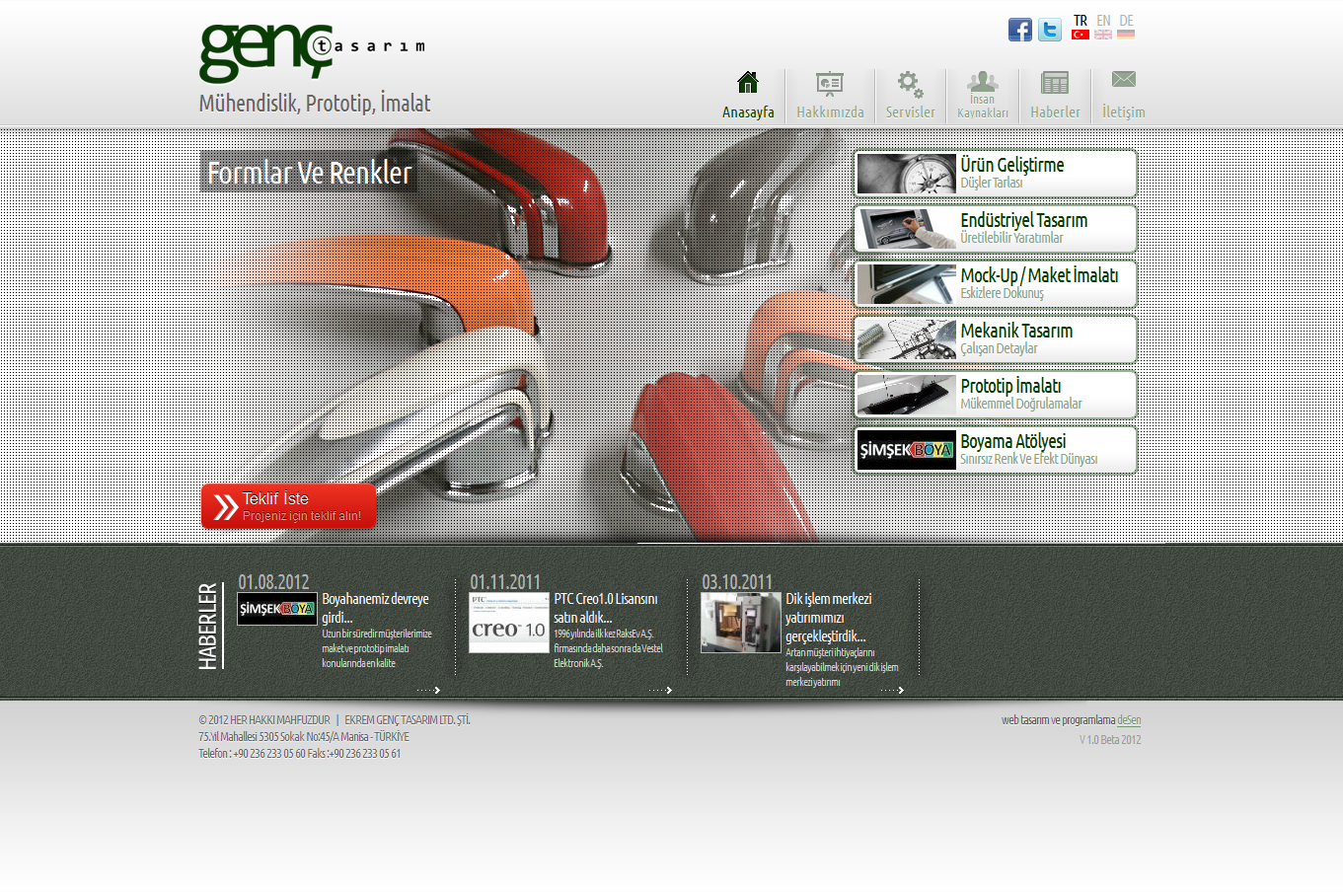 Web Design for a Industrial Design Company