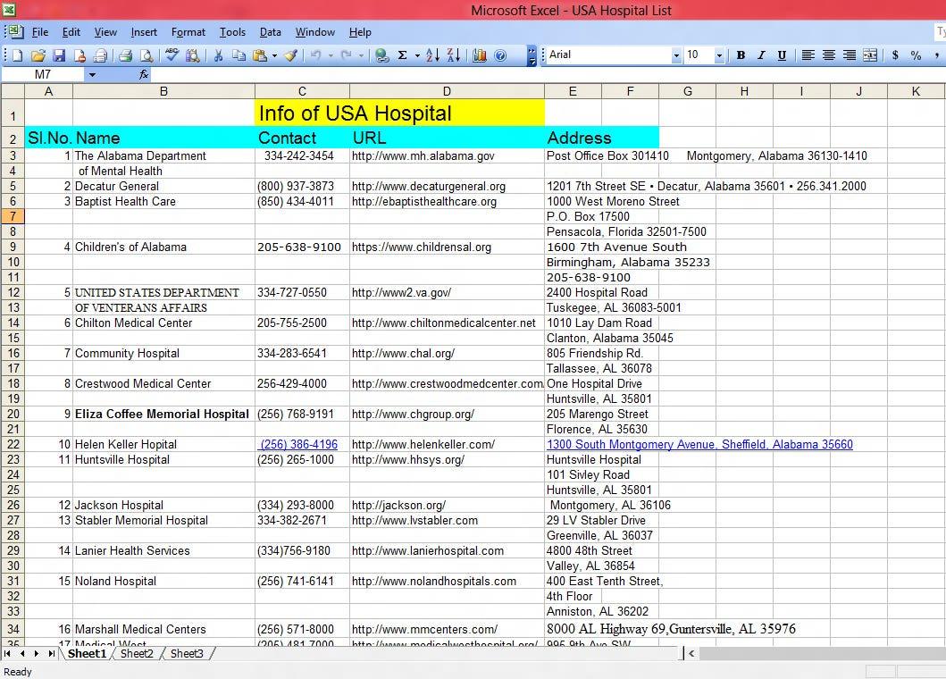 USA Hospital List