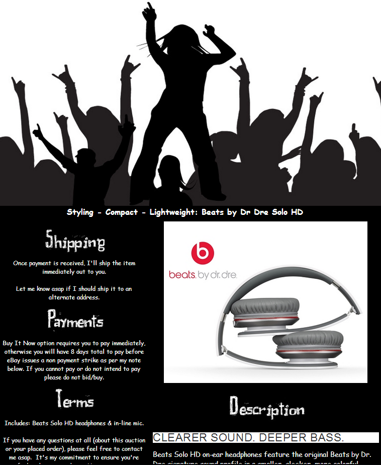 Beats by Dr Dre - eBay Listing