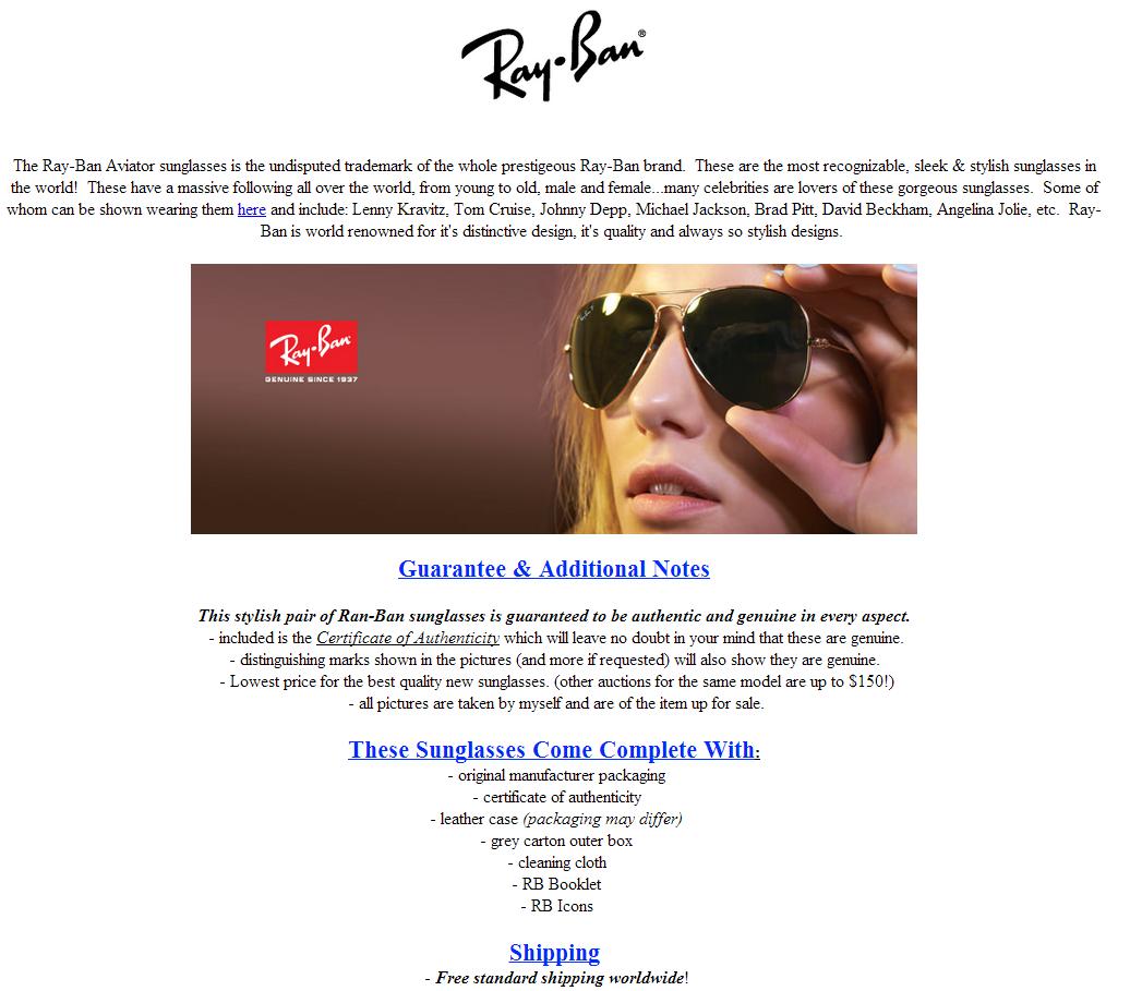 Ray-Ban eBay Listing