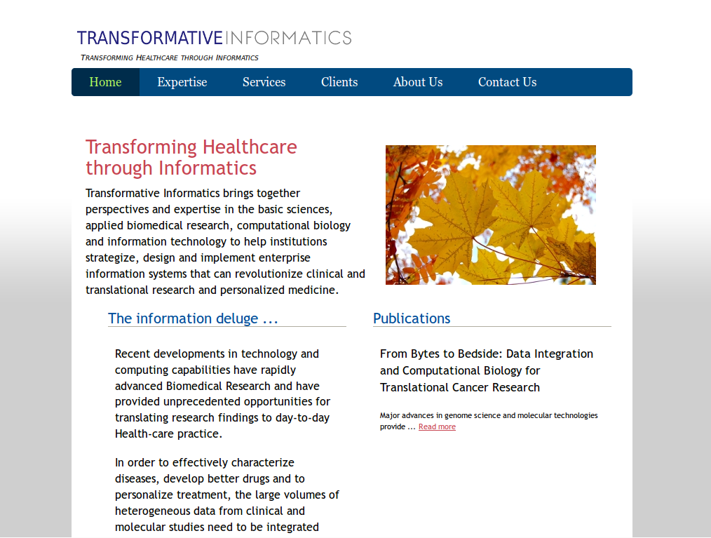 Website for biomedical research company