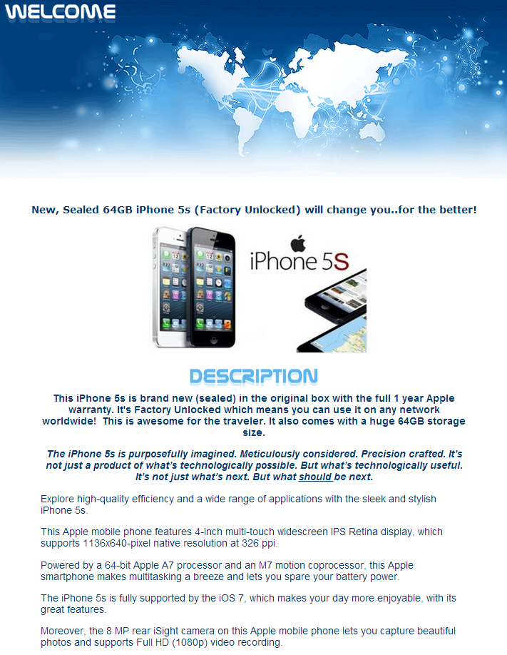iPhone 5s eBay Listing