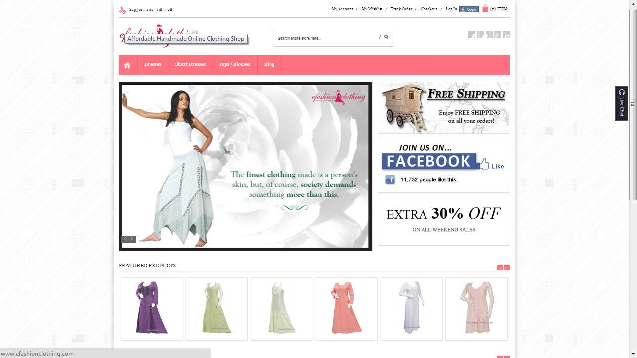 Online Shopping Cart, Developed in Magento
