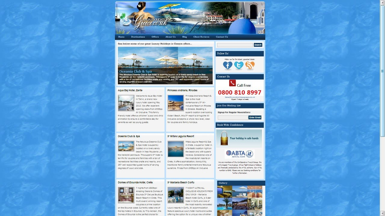 Online Holiday Site, developed in Wordpress