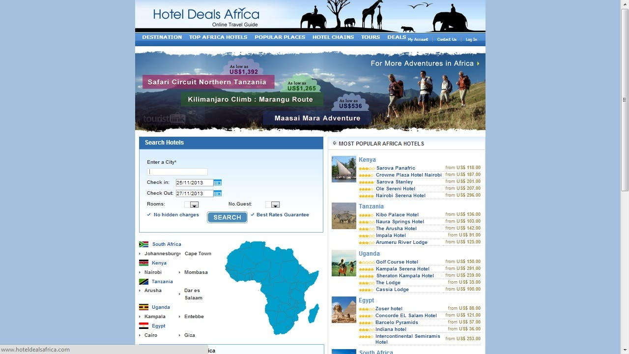 Online Hotel Booking site, developed in Majento