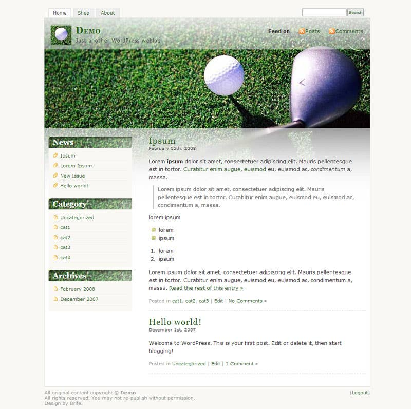 Wordpress Golf Site