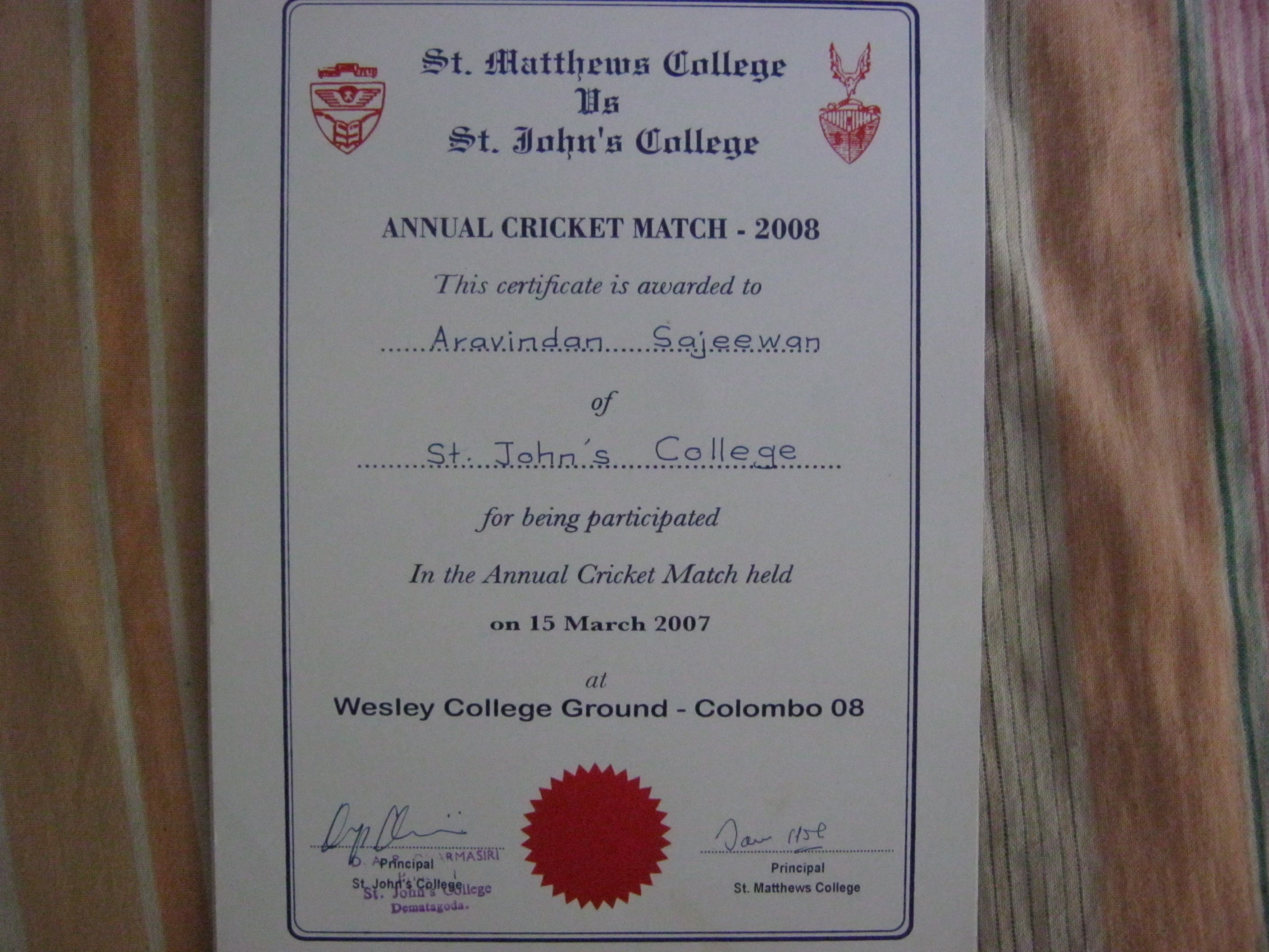 Cricket certificates and other sport certificates