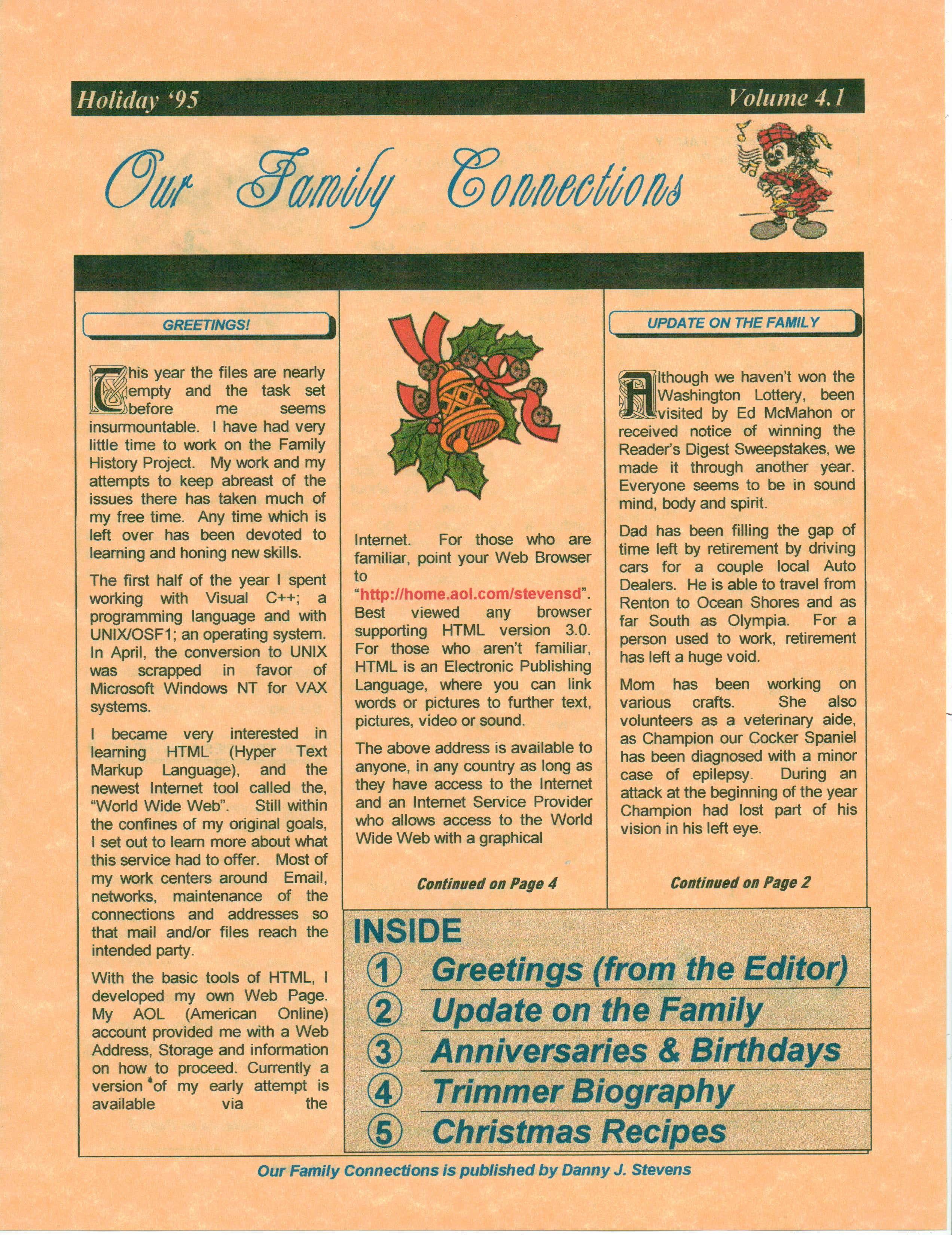 Christmas Newsletter 1995