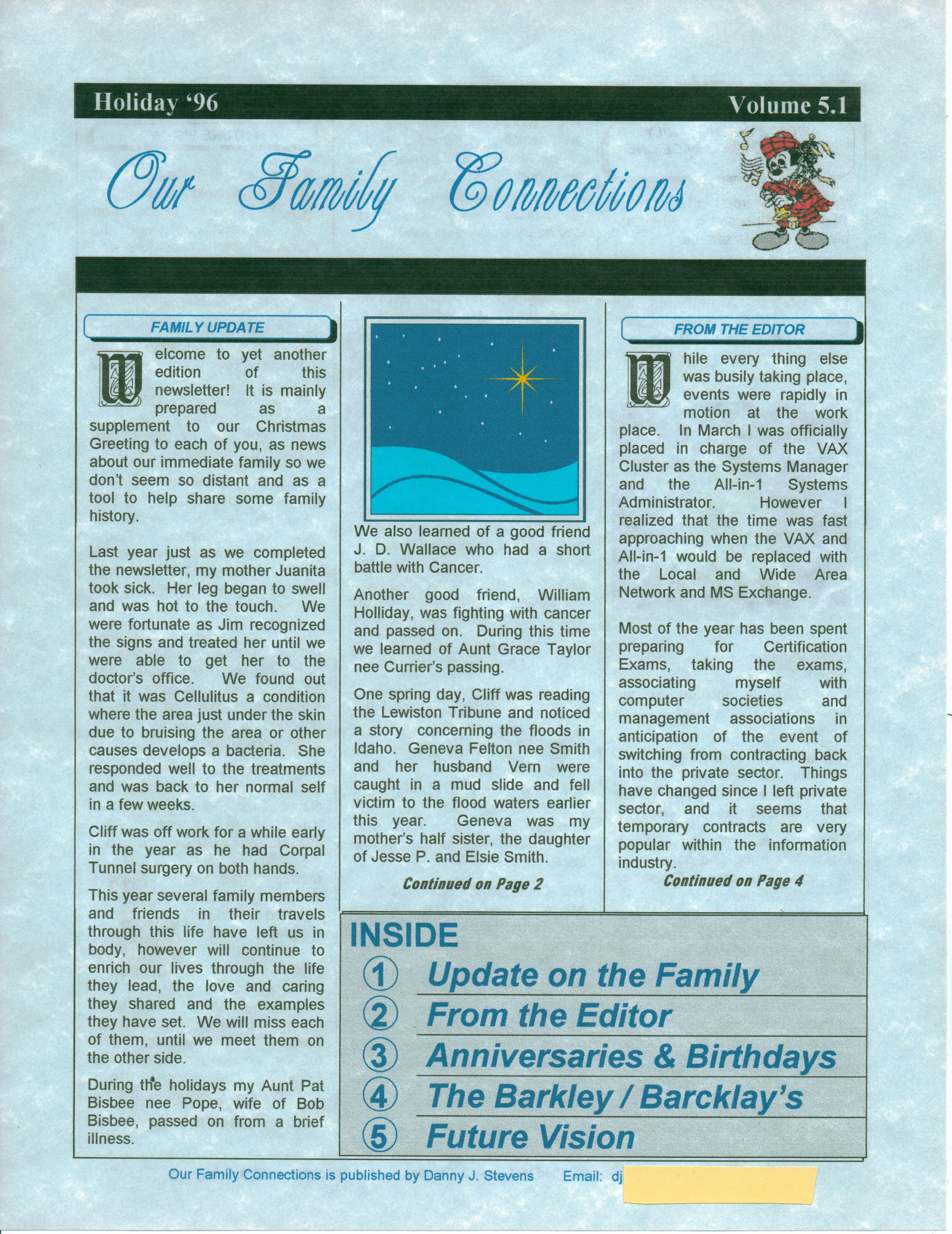 Christmas Newsletter 1996