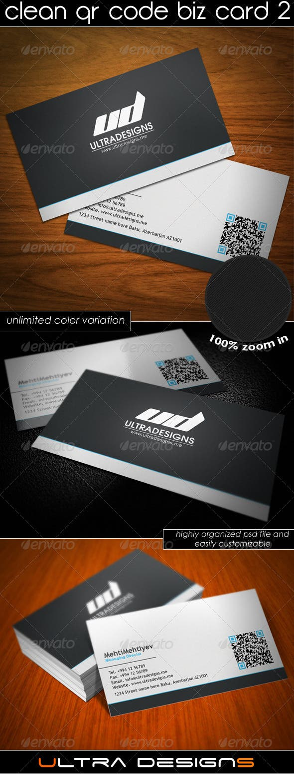 Clean QR Code Business Card