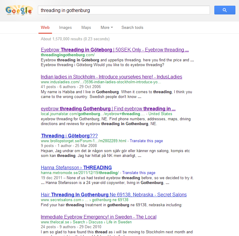 SEO Work for Threadingingothenburg.com
