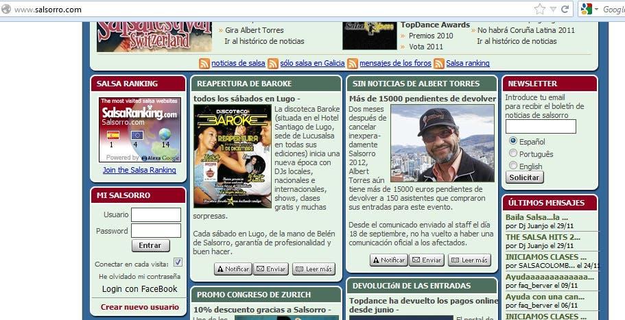 AJAX Login on www.salsorro.com