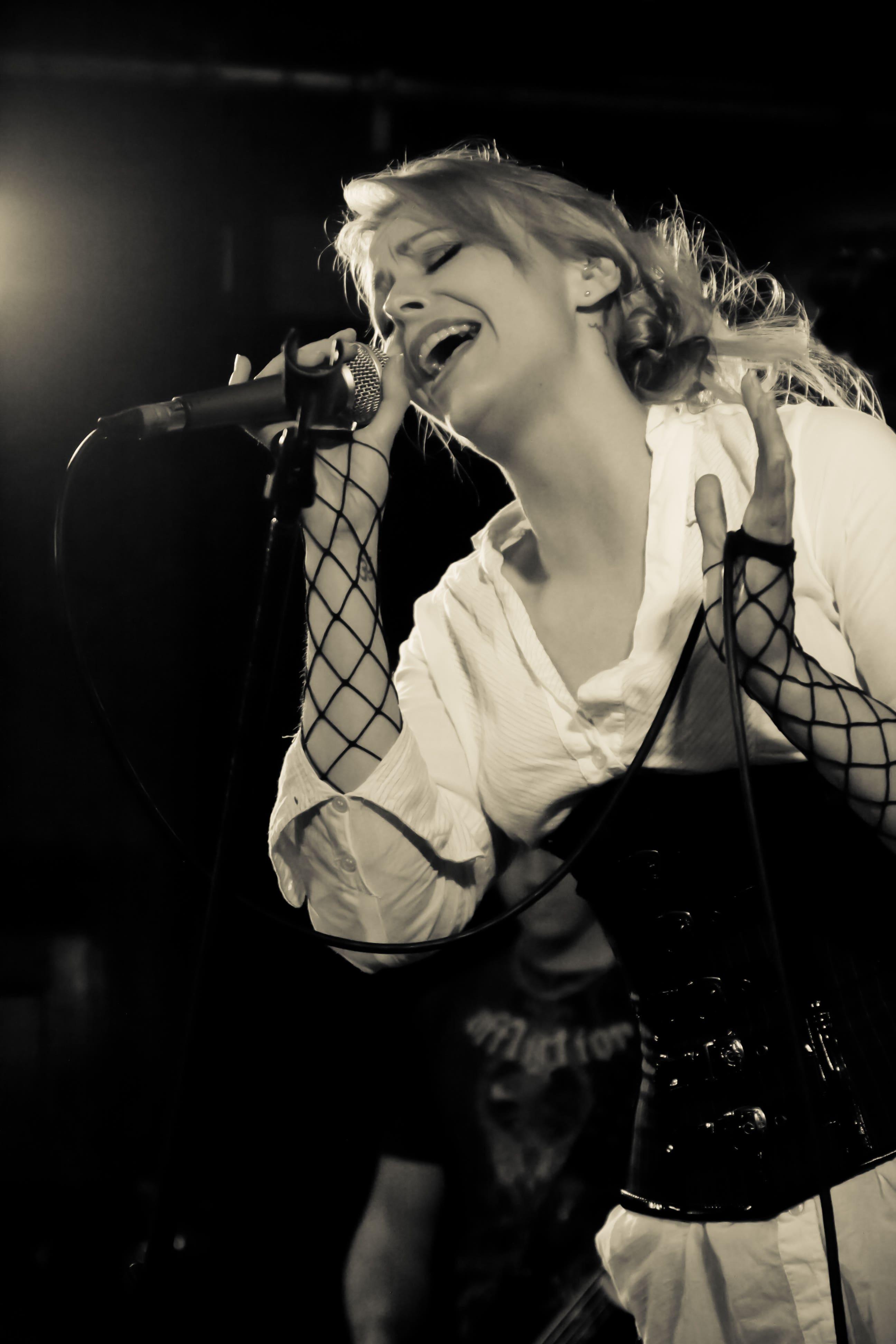 Singer during show